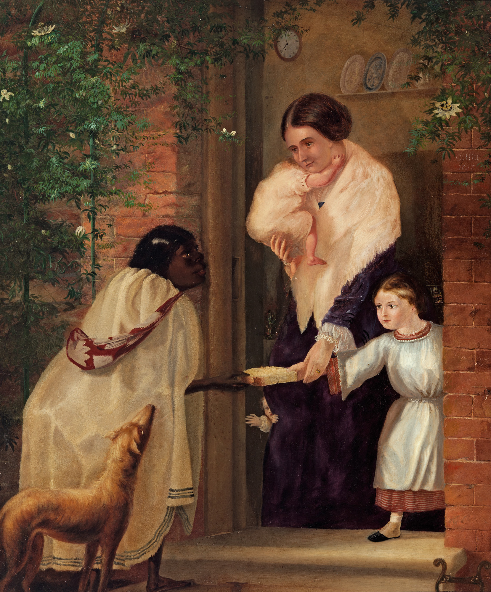 Charles Hill, Australia, 1824 - 1915,  The first lesson , 1857, Adelaide, oil on canvas; Gift of Mrs I. Rusk 1966, Art Gallery of South Australia, Adelaide.