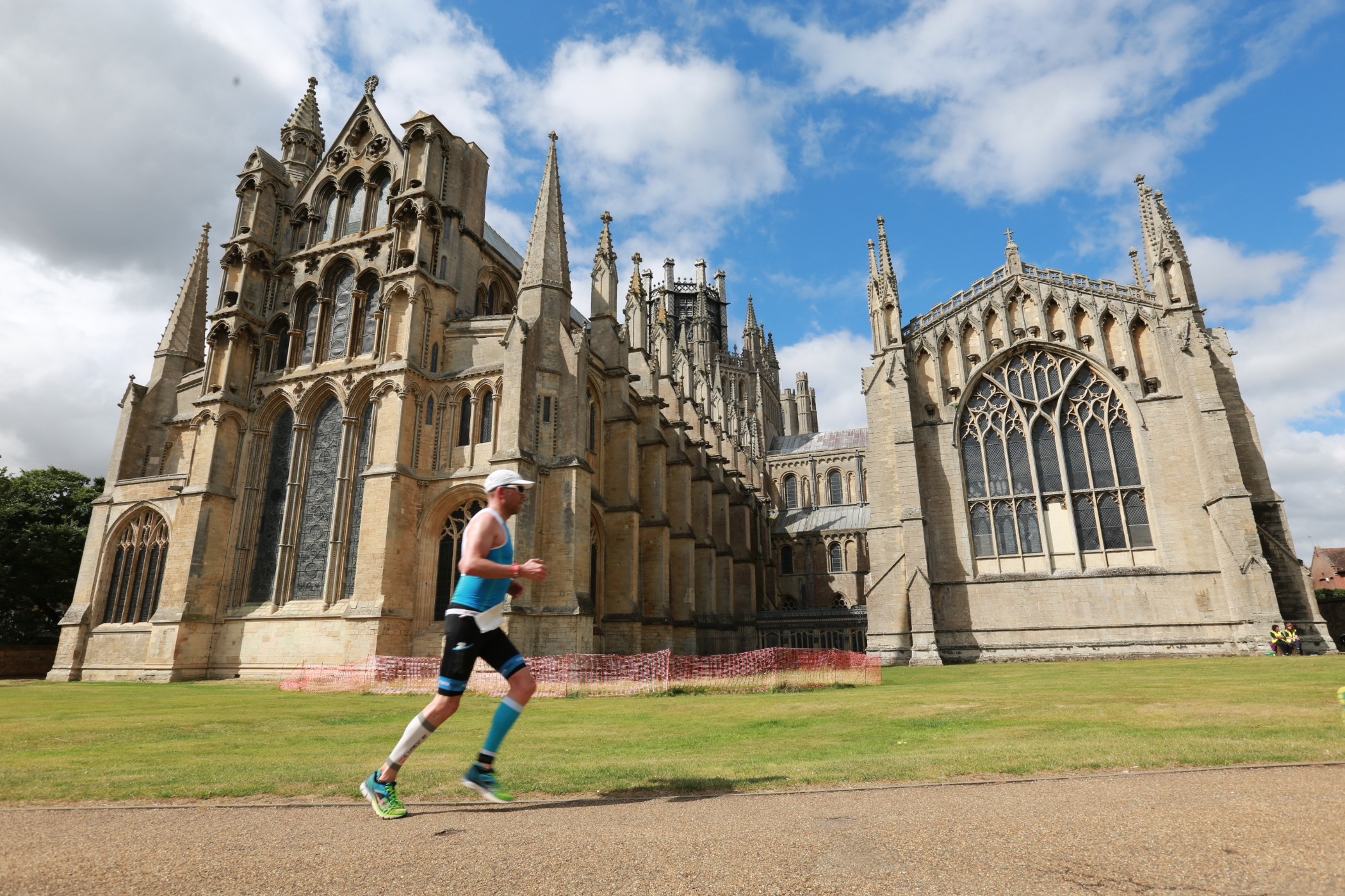 Suffering on the run course around Ely Cathedral