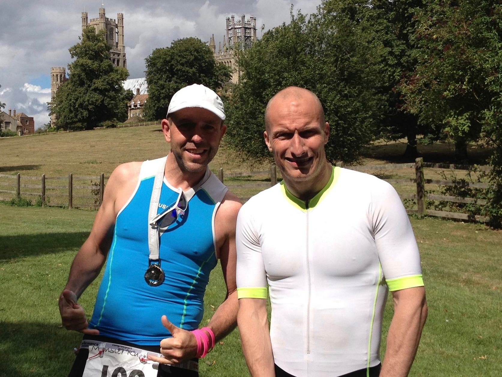 Post finish line pose at the Monster Middle Distance Triathlon 2016