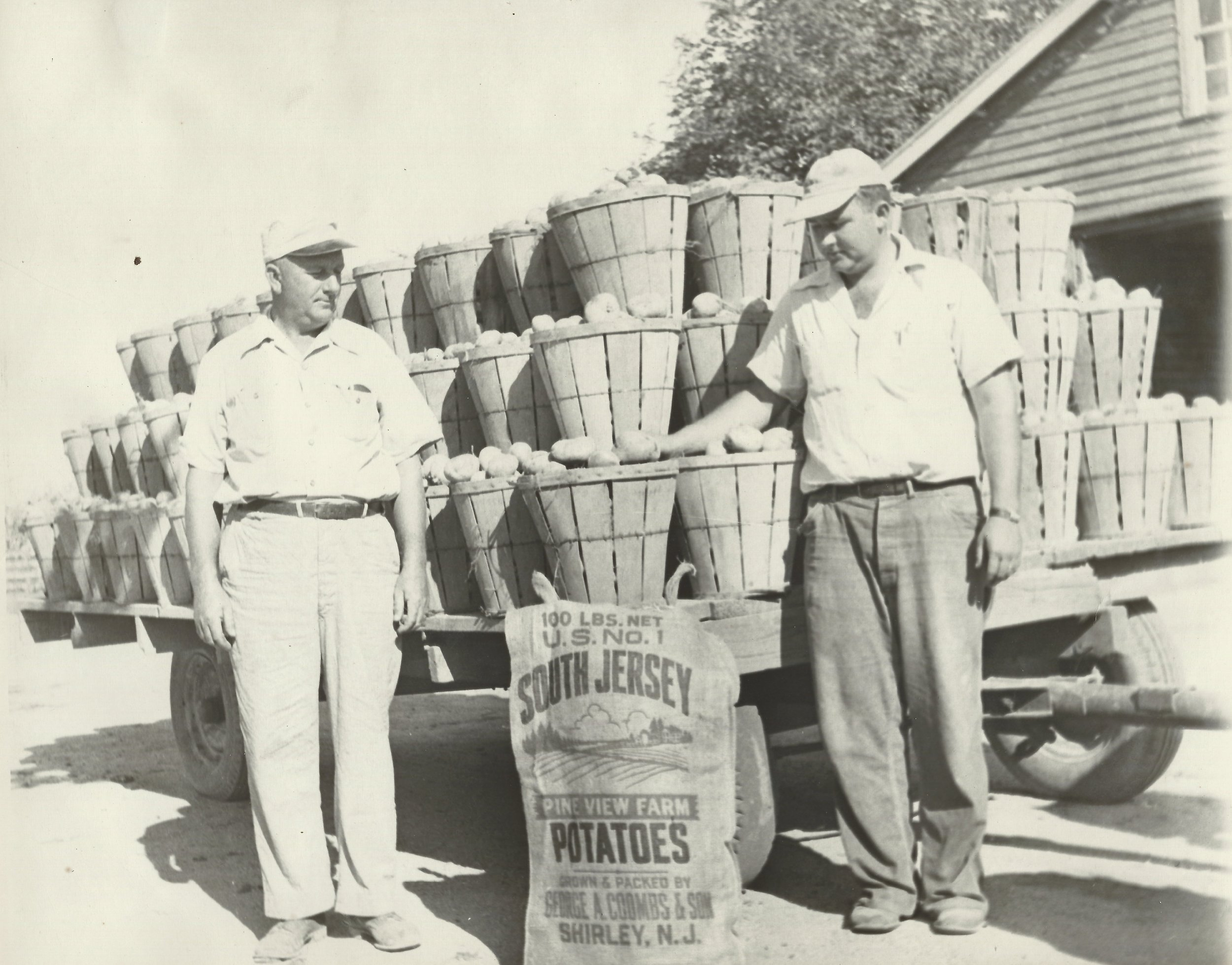 George A. Coombs Sr. and George Jr. in front of wagon loaded with potatoes in 1950s
