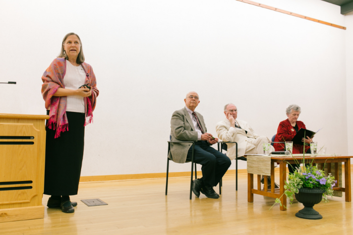 DI Executive Director, Rebecca Mays, introducing the conversation with (seated, from left): Paul Knitter, Leonard Swidler and Sr. Joan Chittister.