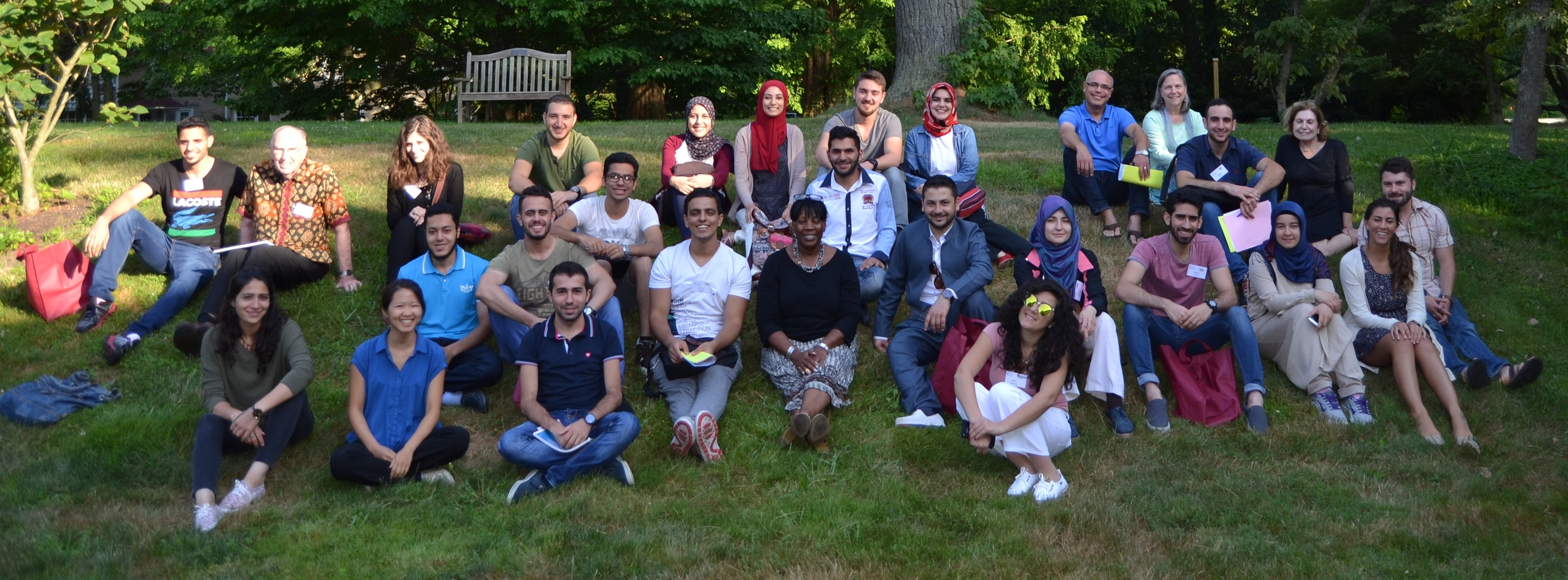 Summer 2016 SUSI students gathering with staff and program associates at Pendle Hill (July 12).