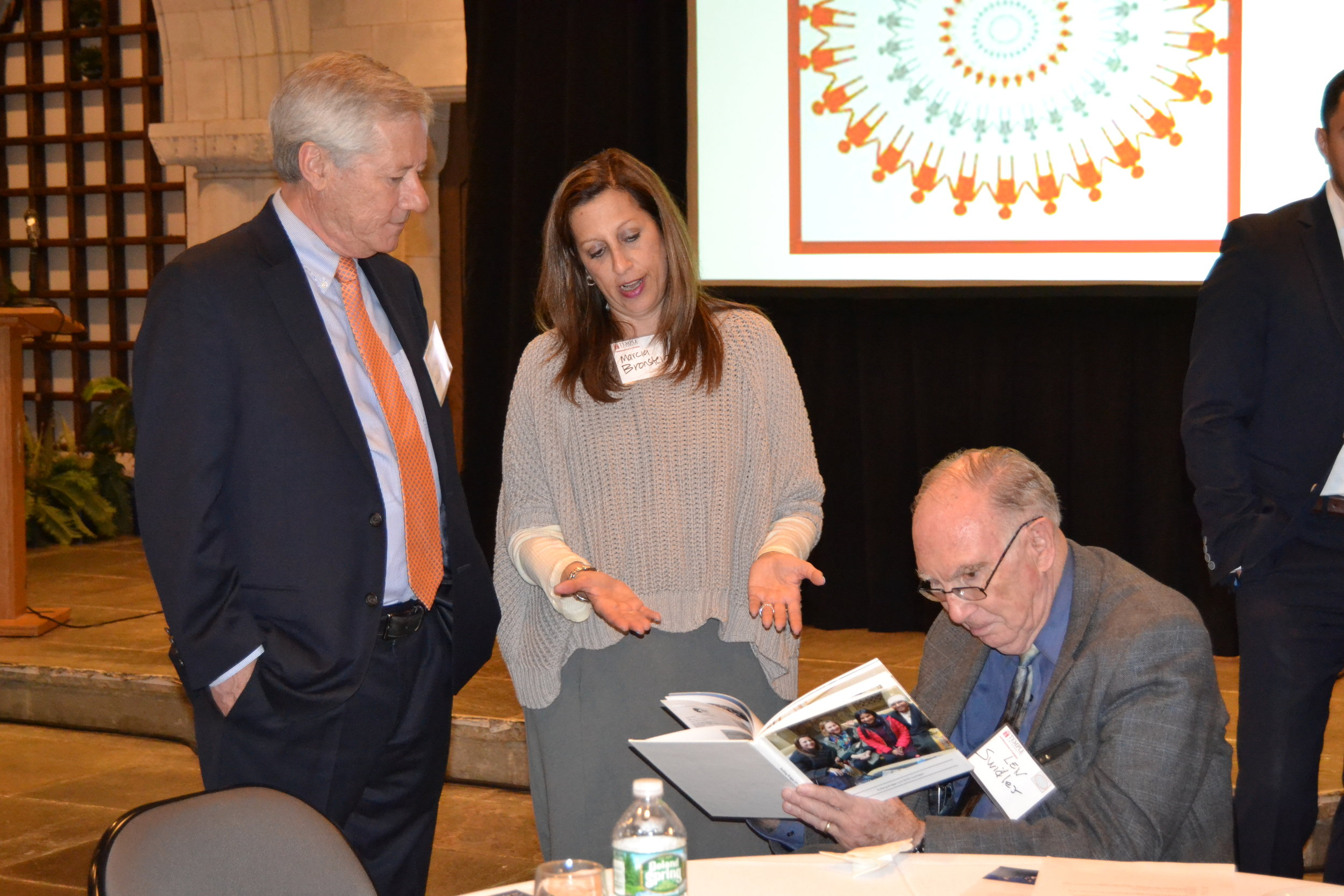 "At a recent ""Circle of Friends"" meeting, May 23, 2017,  are (pictured left to right): Majid Alsayegh (DI Board Chair); Marcia Bronstein (Regional Director of the American Jewish Committee's   Philadelphia/Southern NJ Office ) ; Leonard Swidler (DI Founder & President)"