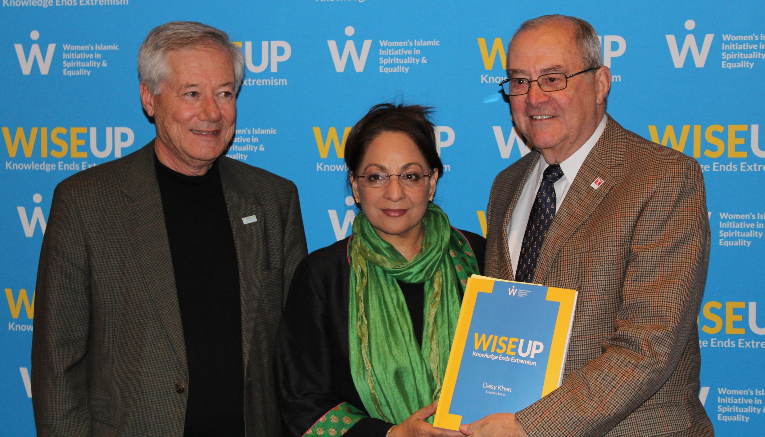 DI Board Chair Majid Alsayegh (pictured left), with WISE's Daisy Khan and DI Executive Director Howard Cohen, at the WISE Up Townhall Dialogue event.