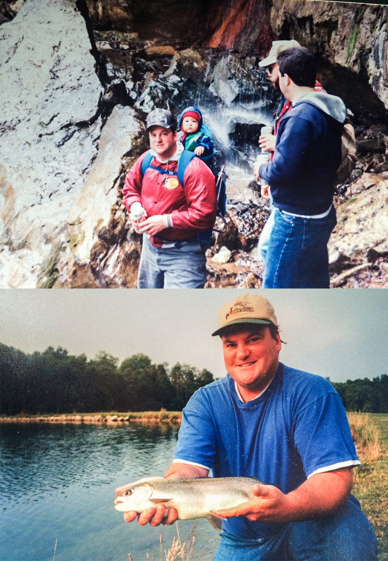 Top Photo: My dad hiking with friends while carrying my brother  Bottom Photo: My dad doing his favorite hobby, fishing