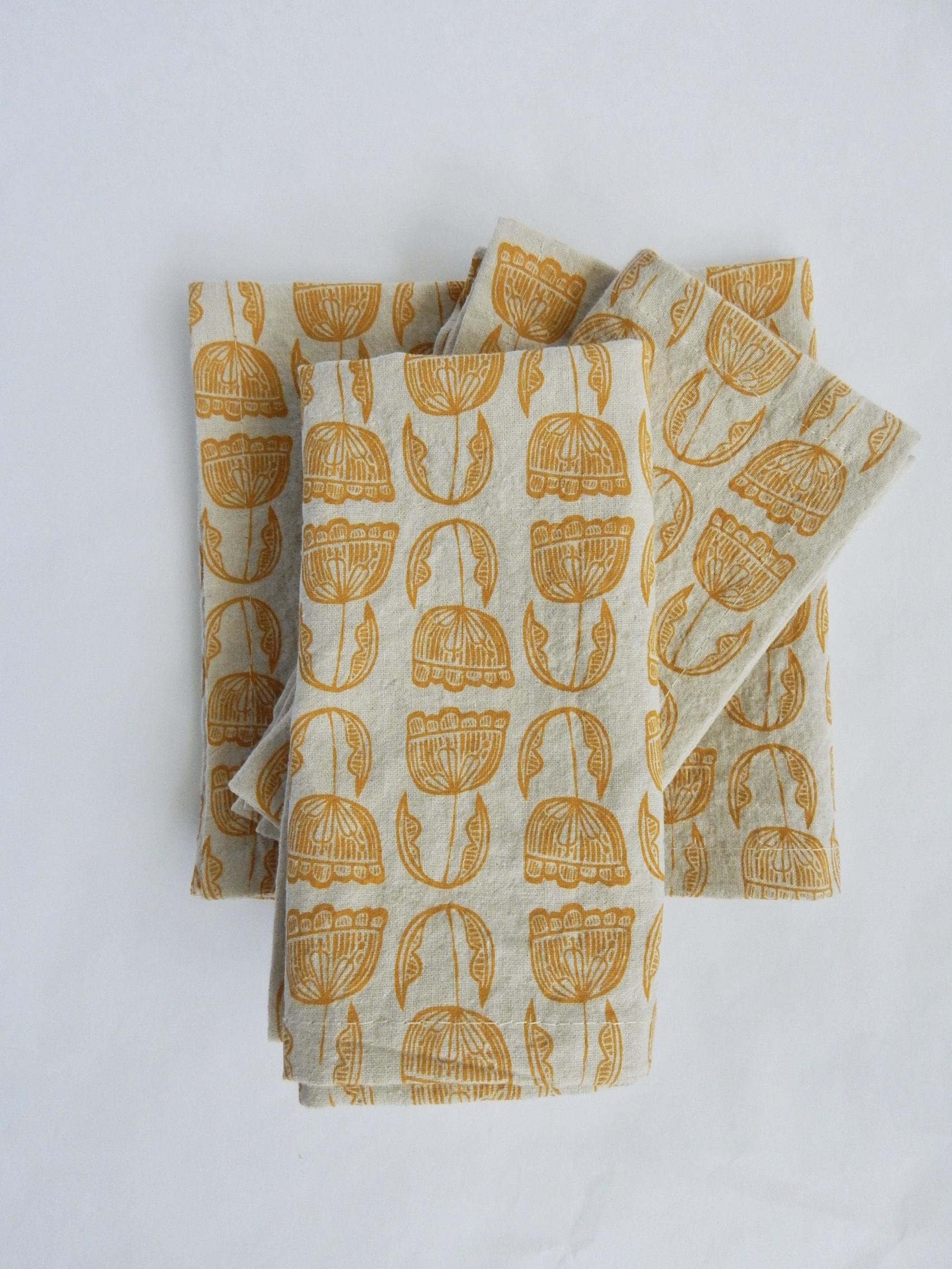 Cloth Napkins Modern Floral Linen Cotton Mustard Yellow The High Fiber