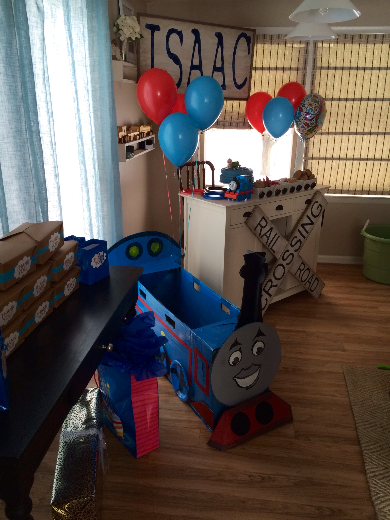 Thomas the train birthday party all set up.