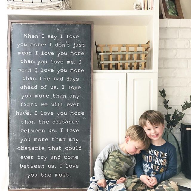 Just admiring the brother hood represented in this picture. The love that is shared between brothers is one of those things that can't be explained. One minute they can be physically fighting and one second later they are hugging and playing cars. 😂 I love every single thing about this picture and the words couldn't be more perfect! Thank you @floridaray18  for having such perfect boys to model your sign!! . . . #brotherhood #brother #siblinglove #siblinglove❤️ #siblinghoodlove #signshop #whenisayiloveyou #iloveyou #dailyquotes #quotestoliveby #quotesaboutlife #lovequotes #homedecor #siblingquotes #lovesigns #wallhanging #walldecor #walldecoration #modernwallart #wordstoliveby #projectnursery