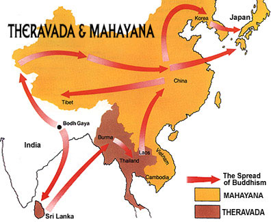 Map of the spread of Buddhism across Asia from  BuddhaNet.net