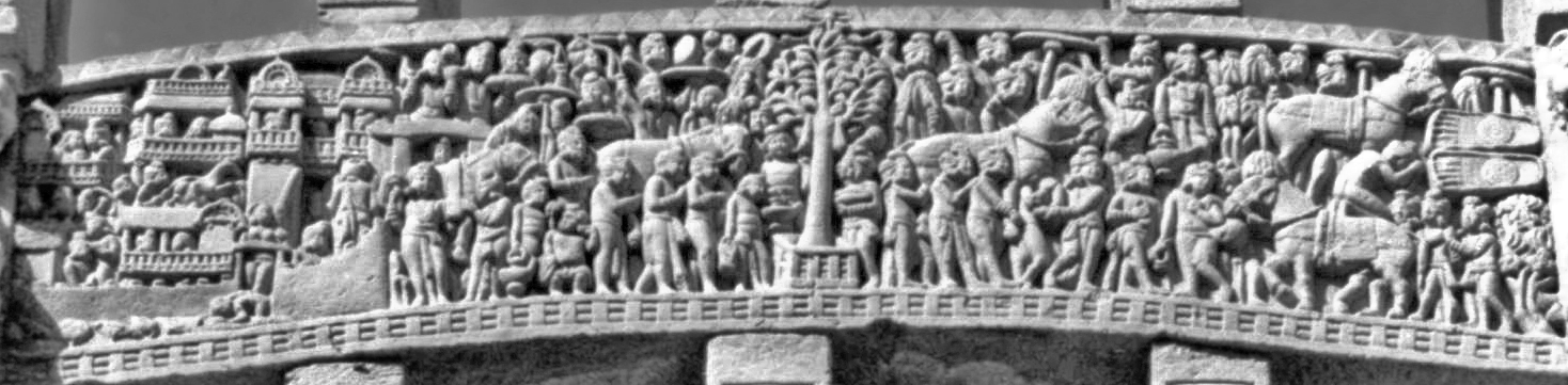 The Great Departure. 100-70 BCE. East Gate of Stupa #1 at the Sanchi Temple in Madhya Pradash, India.  Wiki Commons,Michael Gunther .