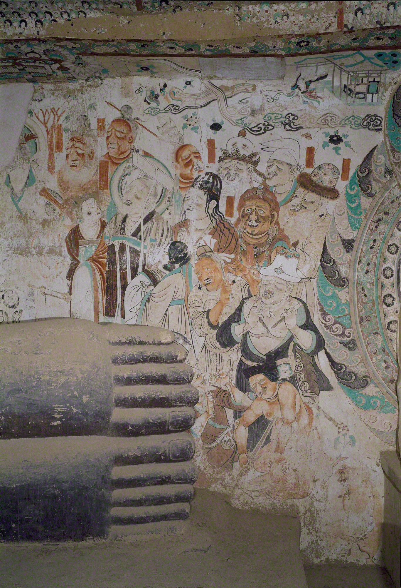 Mural at the foot of the reclining Buddha in Cave 158, 781-848 CE, Dunhuang. Photo by Wu Jian. Image courtesy of the Dunhuang Academy.