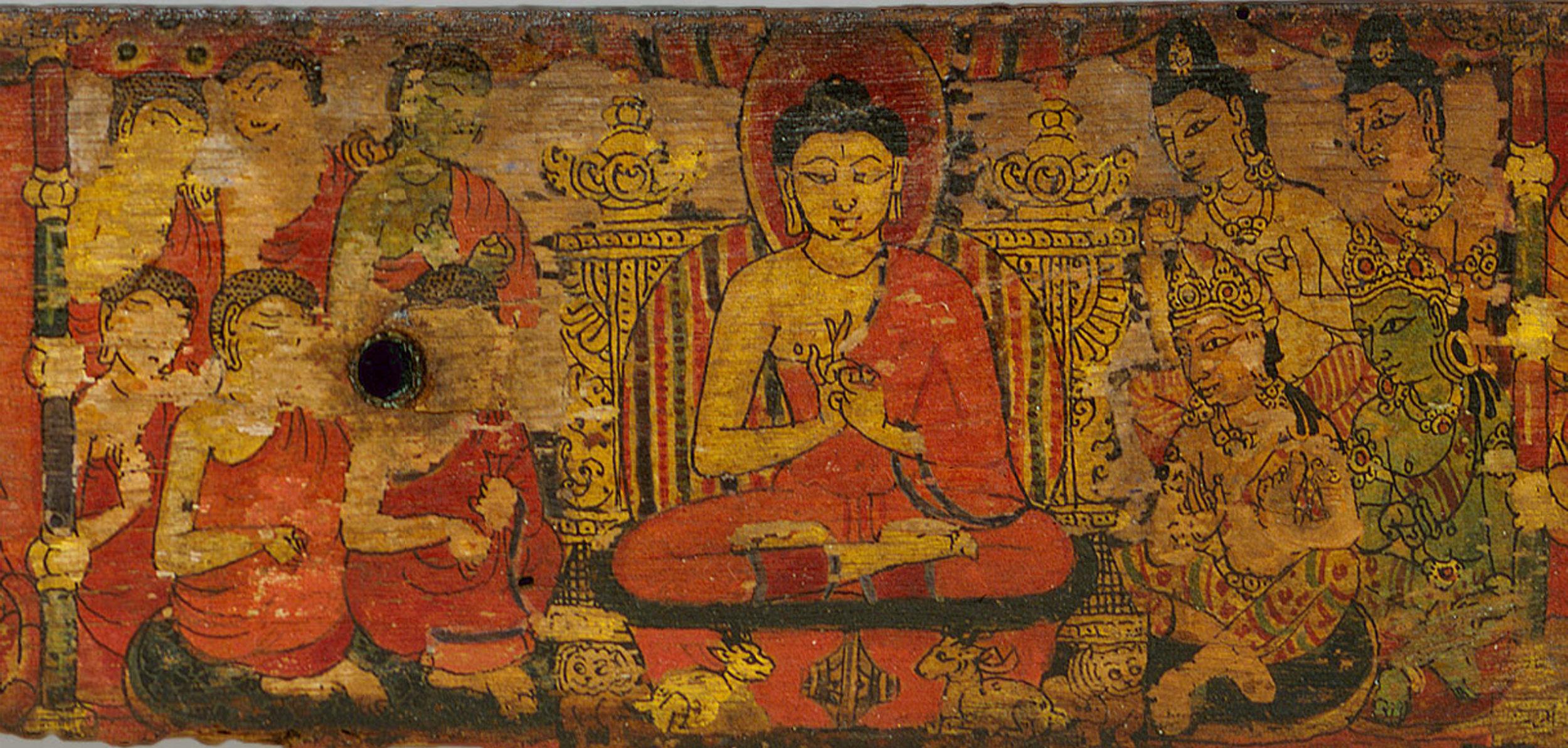 Detail from Book Cover of Manuscript of the Ashtasahasrika Prajnaparamita Sutra. 10th-11th century. Thakuri-Malla. Nepal.  The Met .