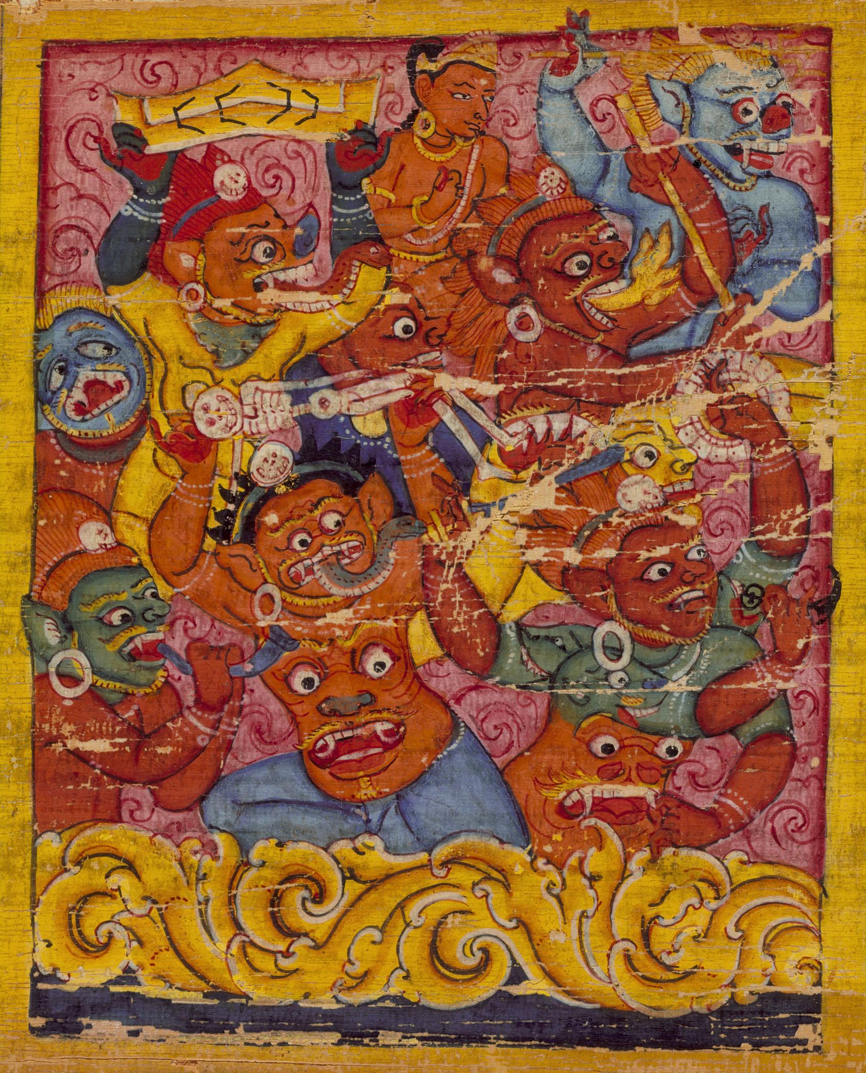 Mara's Retinue, Folio from an Ashtasahasrika Prajnaparamita (The Perfection of Wisdom in 8,000 Verses). 11th century. Nepal.  LACMA .