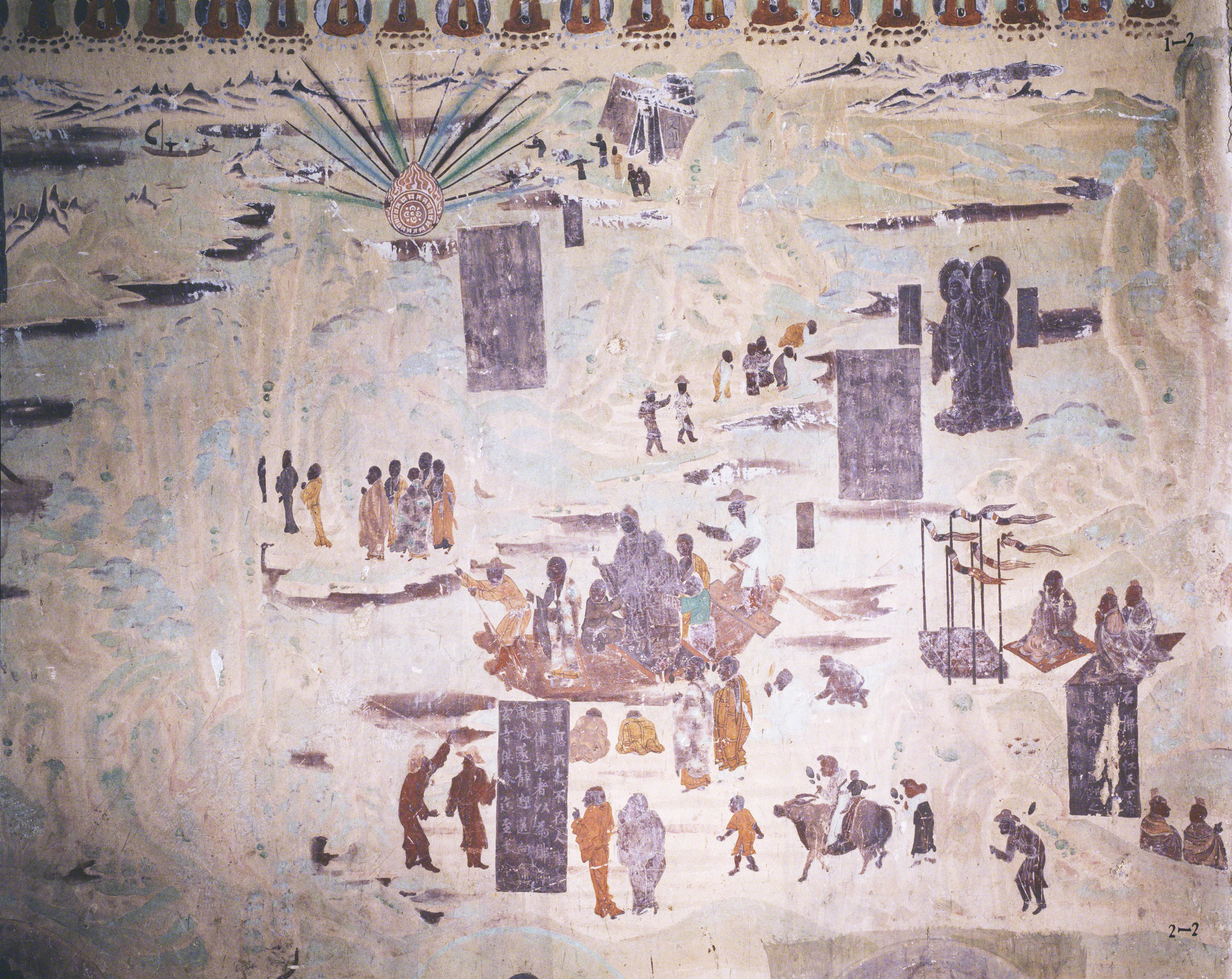 Two Stone Buddhas Floating on the River on the south wall of Mogao Cave 323.Tang Dynasty. Image courtesy of the Dunhuang Academy.