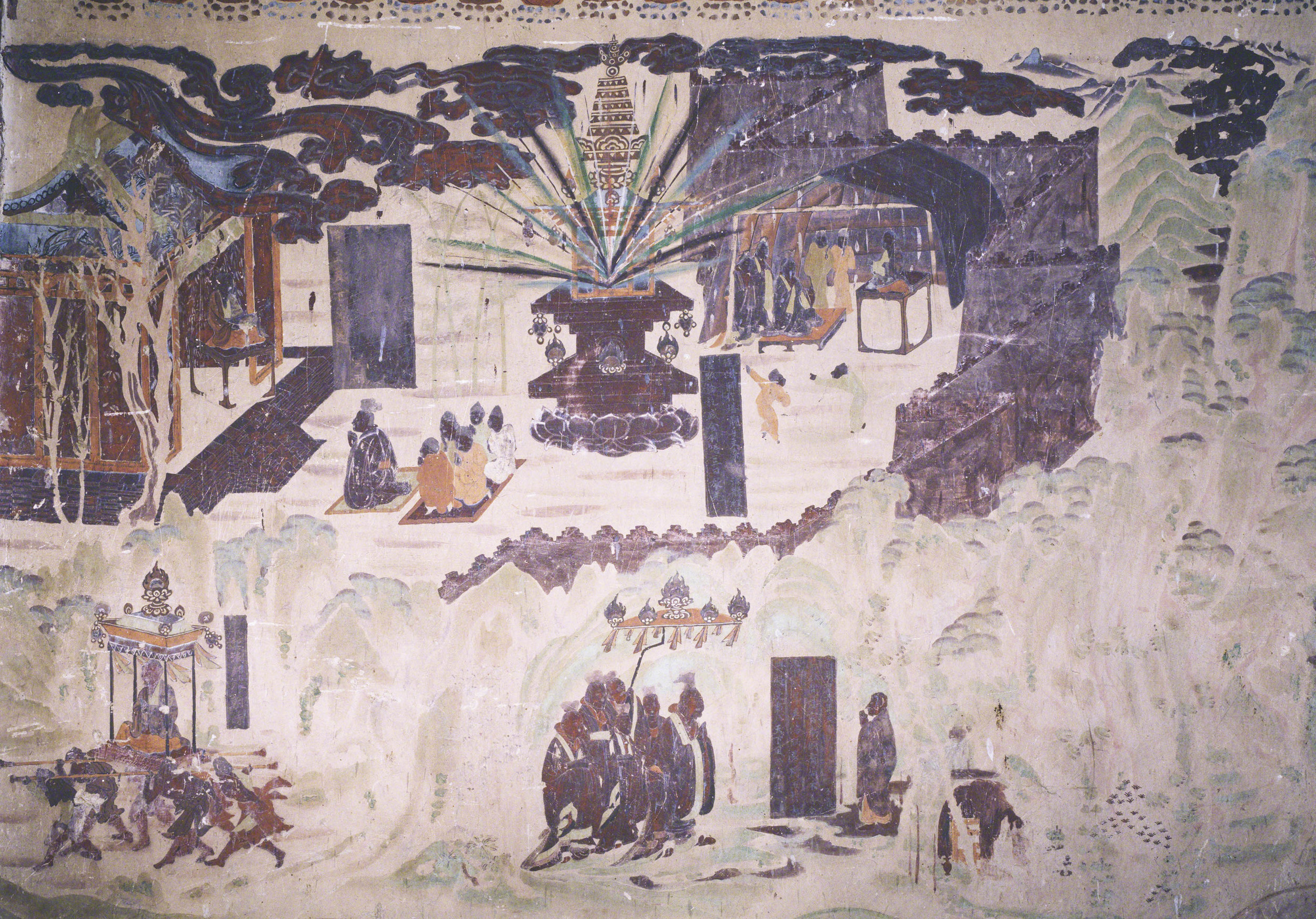 Sui Dynasty Emperor Wen and Master Tan Yan on the south wall of Mogao Cave 323.  Early Tang. Image Courtesy of the Dunhuang Academy.