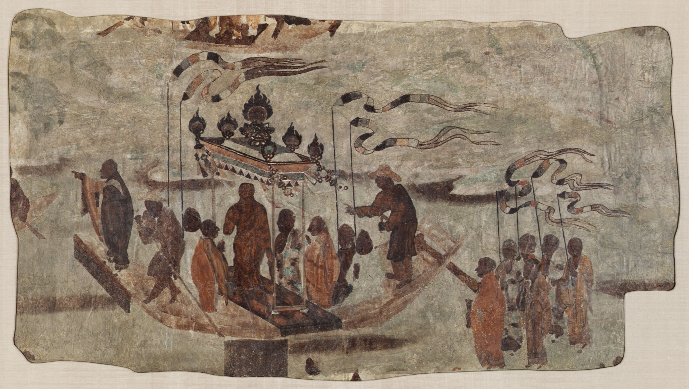 Eight Men Ferrying a Statue of the Buddha from Mogao Cave 323. Tang. Dunhuang. Image Courtesy of  Harvard Art Museums .