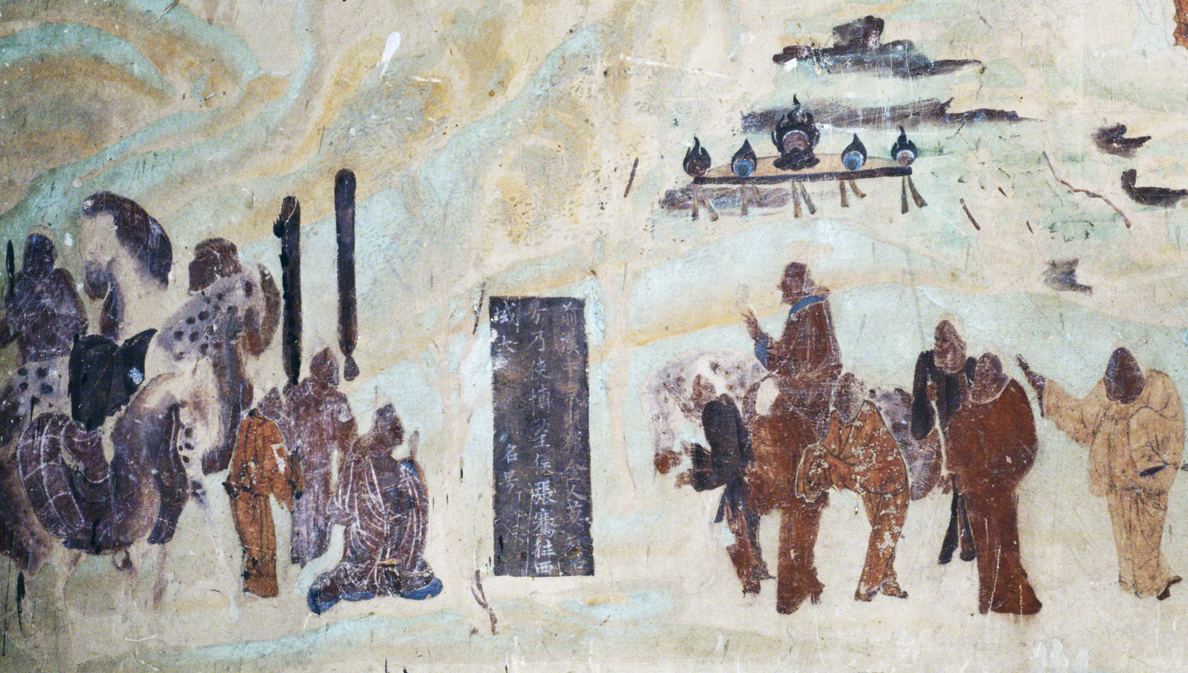 Detail of Emperor Wu on a horse sending off Zhang Qian who is kneeling,north wall fresco in Mogao Cave 323. Early Tang. Image Courtesy of the Dunhuang Academy.