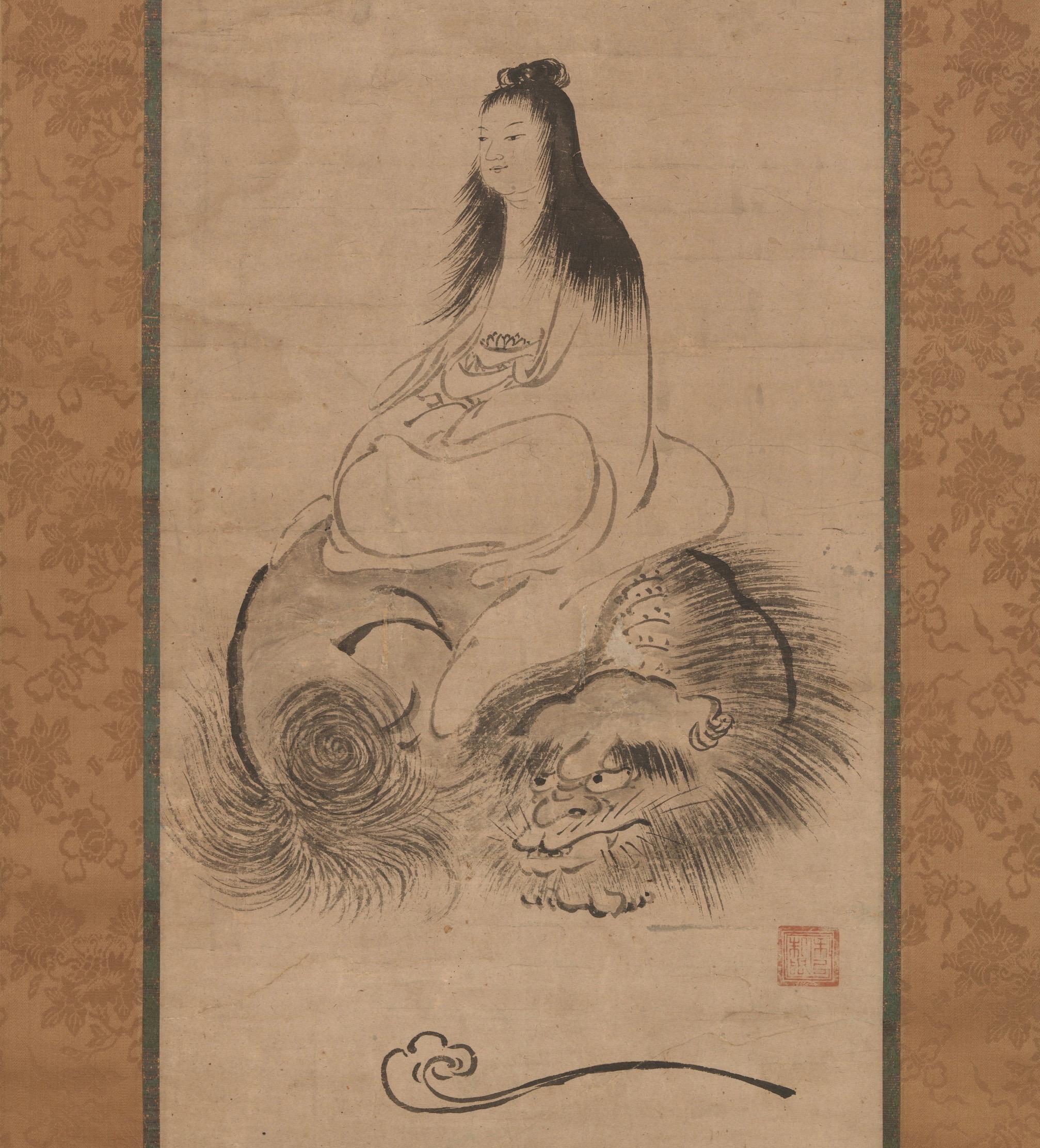 Monju (Manjusri) on a Lion. Shuusei. Late 15th century. Muromachi period. Japan. Image courtesy of  The Met .