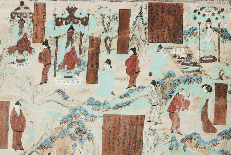 Detail of the some of the forms Guanyin takes when s/he manifests on Earth, from the Guanyin of the Universal Gateway Mural in Mogao Cave 45. 705-781 CE. Late Tang Dynasty. Dunhuang. Image Courtesy of the Dunhuang Academy.