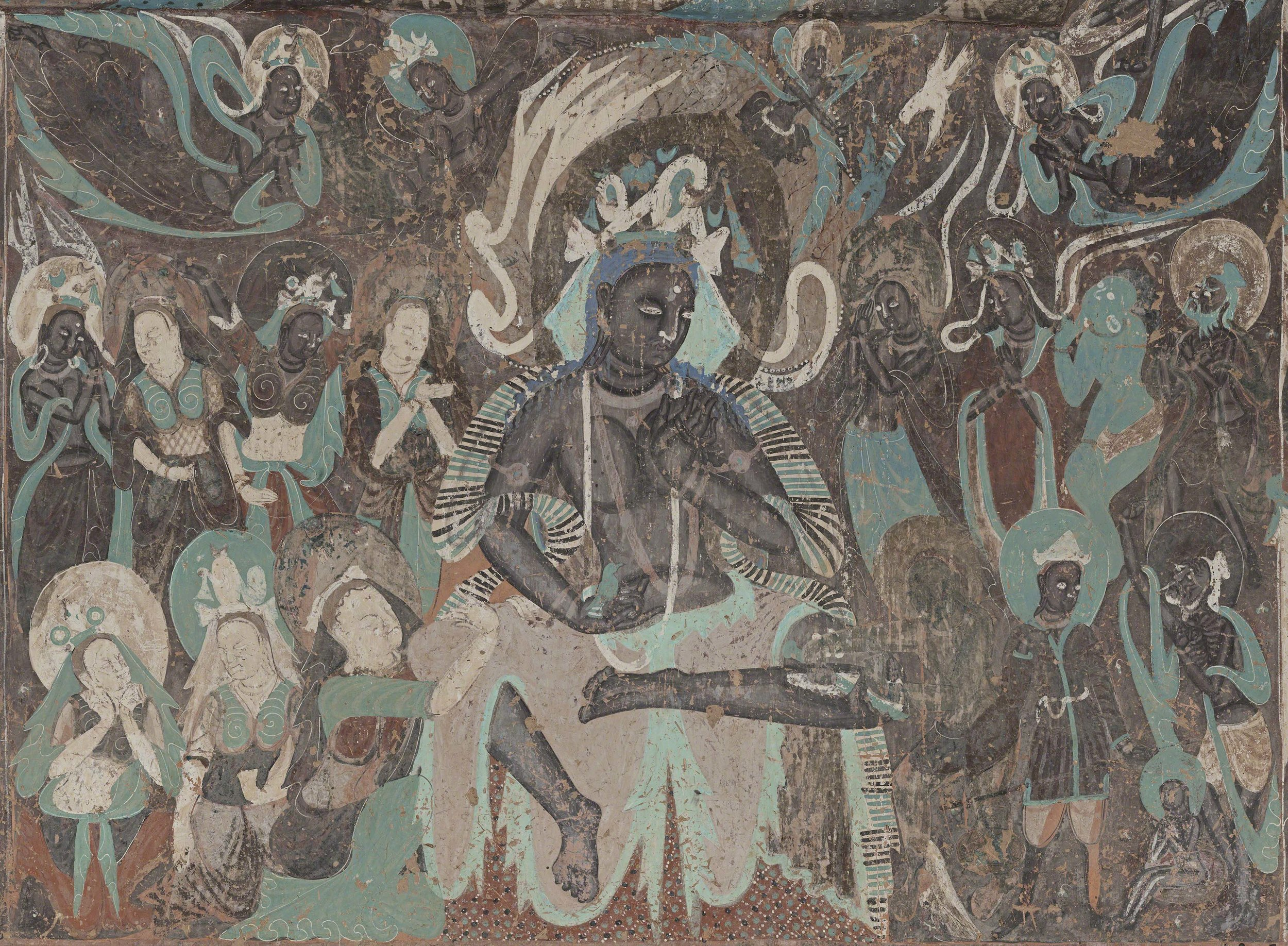 Mural of King Sivi from the north wall of Mogao Cave 254. Dunhuang.439-534 CE. Northern Wei Dynasty. Image Courtesy of the Dunhuang Academy.