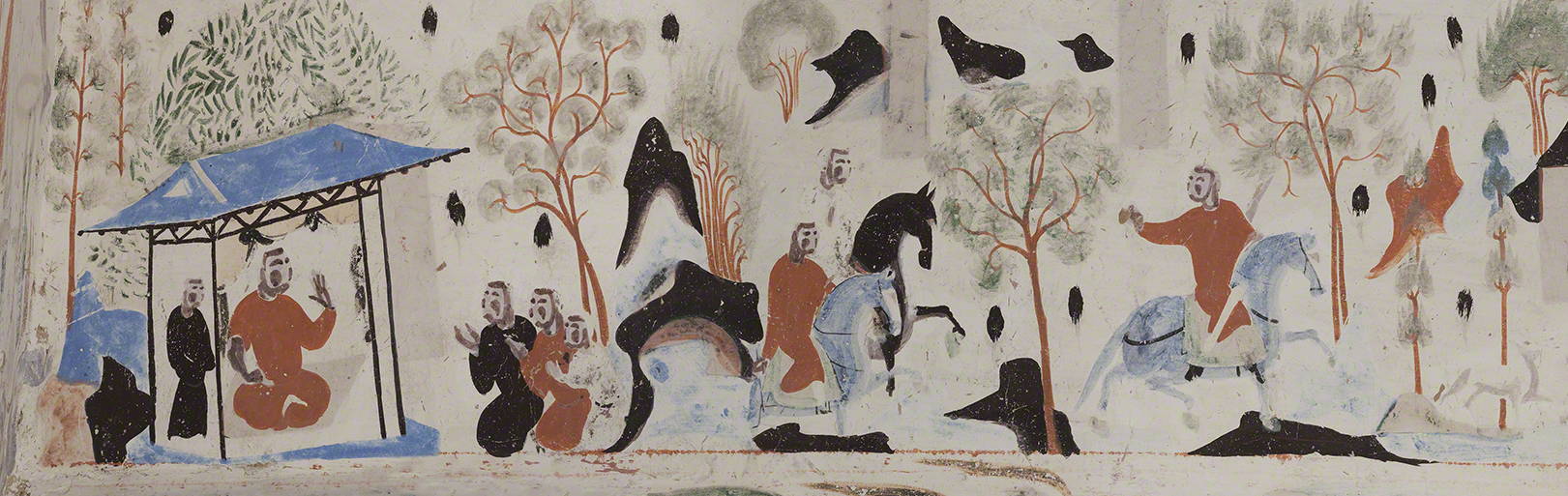 Detail of the king of Benares going hunting from the Syama jataka tale mural.   Mogao Cave 302. Sui, 581-618 CE. Dunhuang. Image courtesy of the Dunhuang Academy.