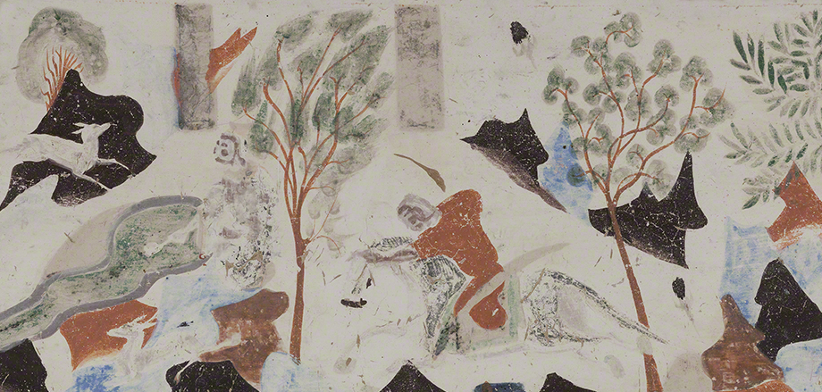Detail of the king of Benares descending from his horse after he shoots Syama from the Syama jataka tale mural.  Mogao Cave 302.Sui,581-618 CE. Dunhuang. Image courtesy of the Dunhuang Academy.