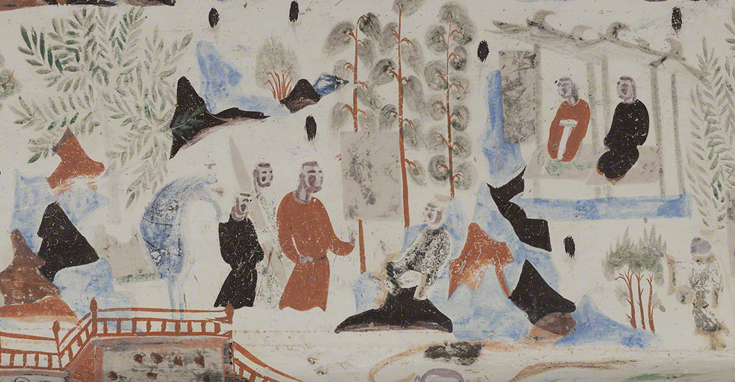 Detail of the dying Syama from the Syama jataka tale mural.   Mogao Cave 302. Sui, 581-618 CE. Dunhuang. Image courtesy of the Dunhuang Academy.