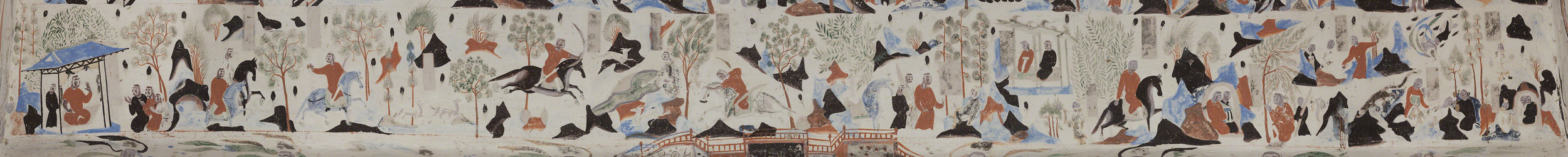 The complete Syama jataka tale mural.  Mogao Cave 302.Sui,581-618 CE. Dunhuang. Image courtesy of the Dunhuang Academy.