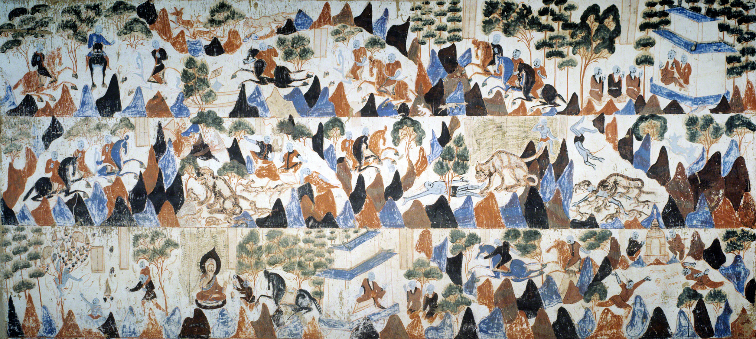 The complete Prince Mahasattva jataka tale mural. Mogao Cave 428. Northern Zhou, 557-581 CE. Dunhuang. Image courtesy of the Dunhuang Academy.
