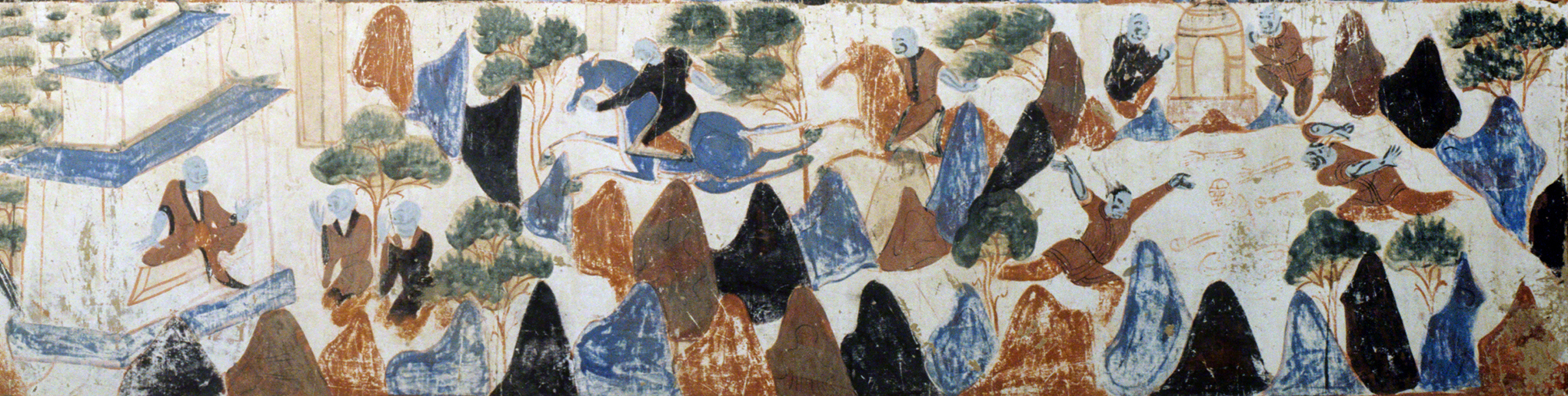 Detail of the grieving brothers and their return to the palace. Third register.   Mogao Cave 428. Northern Zhou, 557-581 CE. Dunhuang. Image courtesy of the Dunhuang Academy.