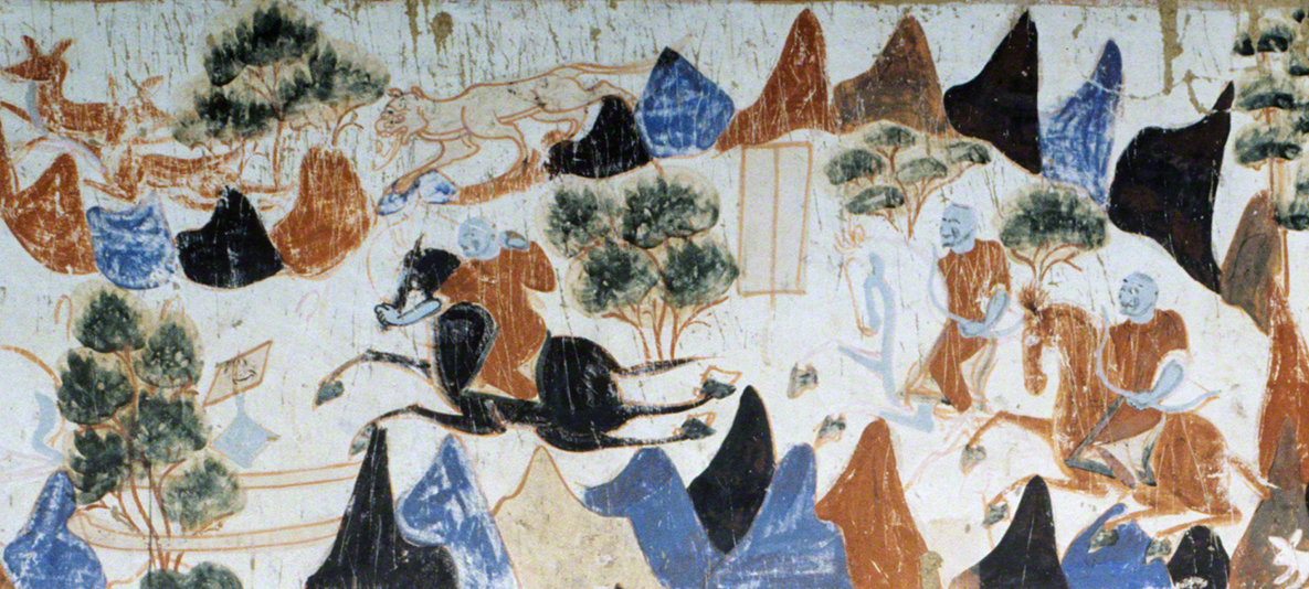 Detail of the three princes hunting in the forest. First register, middle section.   Mogao Cave 428. Northern Zhou, 557-581 CE. Dunhuang. Image courtesy of the Dunhuang Academy.