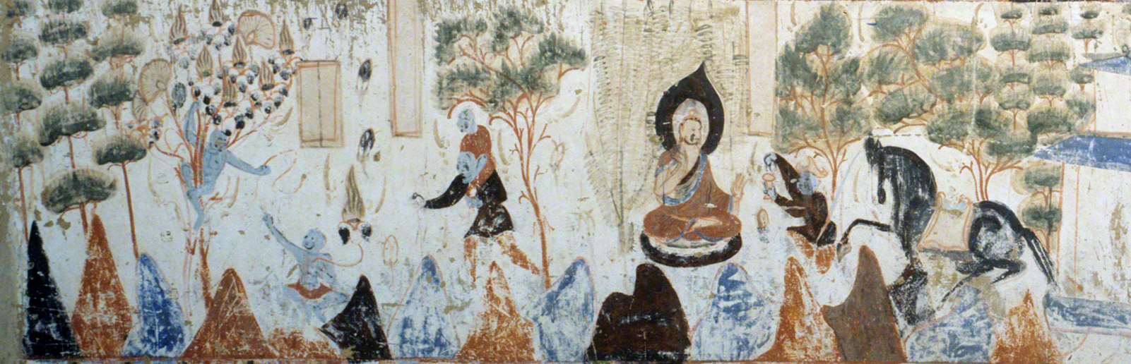 Detail of the left side of the third register of the Mahasattva jataka painting.   Mogao Cave 428. Northern Zhou, 557-581 CE. Dunhuang. Image courtesy of the Dunhuang Academy.