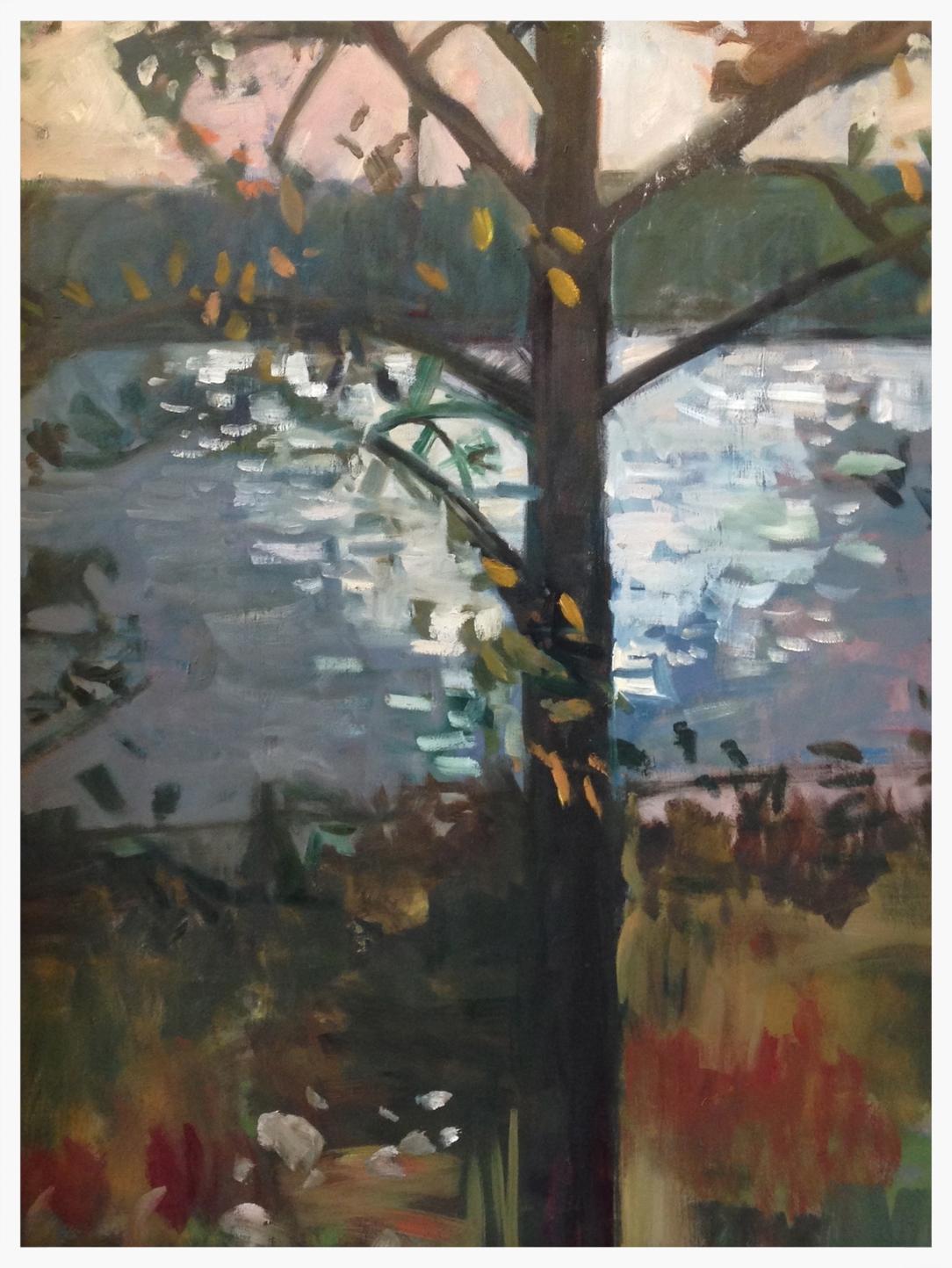 Sunset on Piankatank. Oil on canvas, 30X40