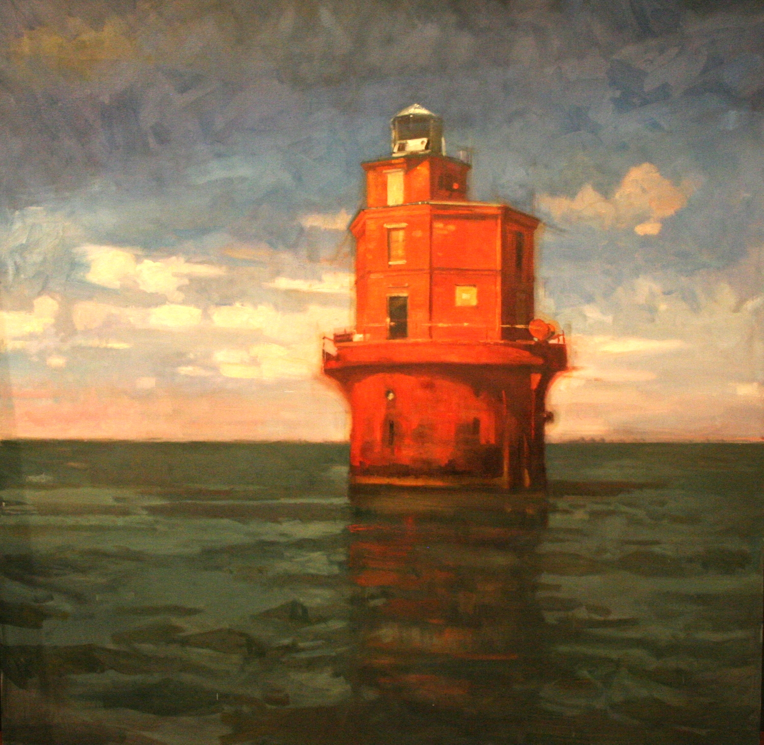 Wolf Trap LIght House, Chesapeake Bay. Oil on canvas. 40X40