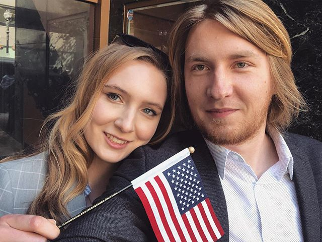 Today I became US Citizen! 🇺🇸 Finally, after 6 long years... 🇷🇺✈��🚗���👰��🇺🇸