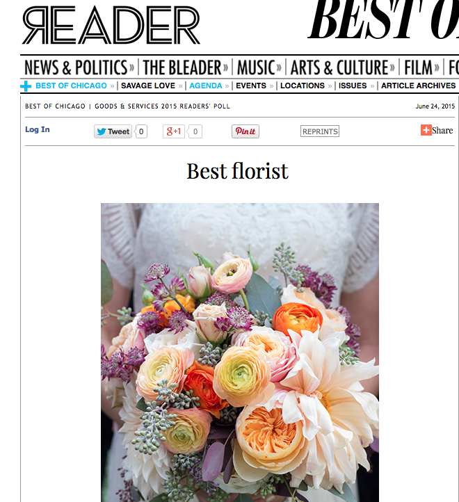 Fleur voted as Best Florist in the Chicago Reader by the people's choice.