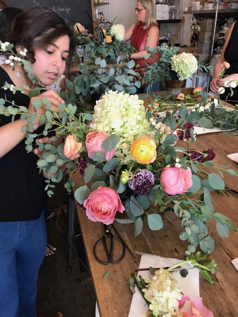 Watercolor & Floral Design Class in the studio.