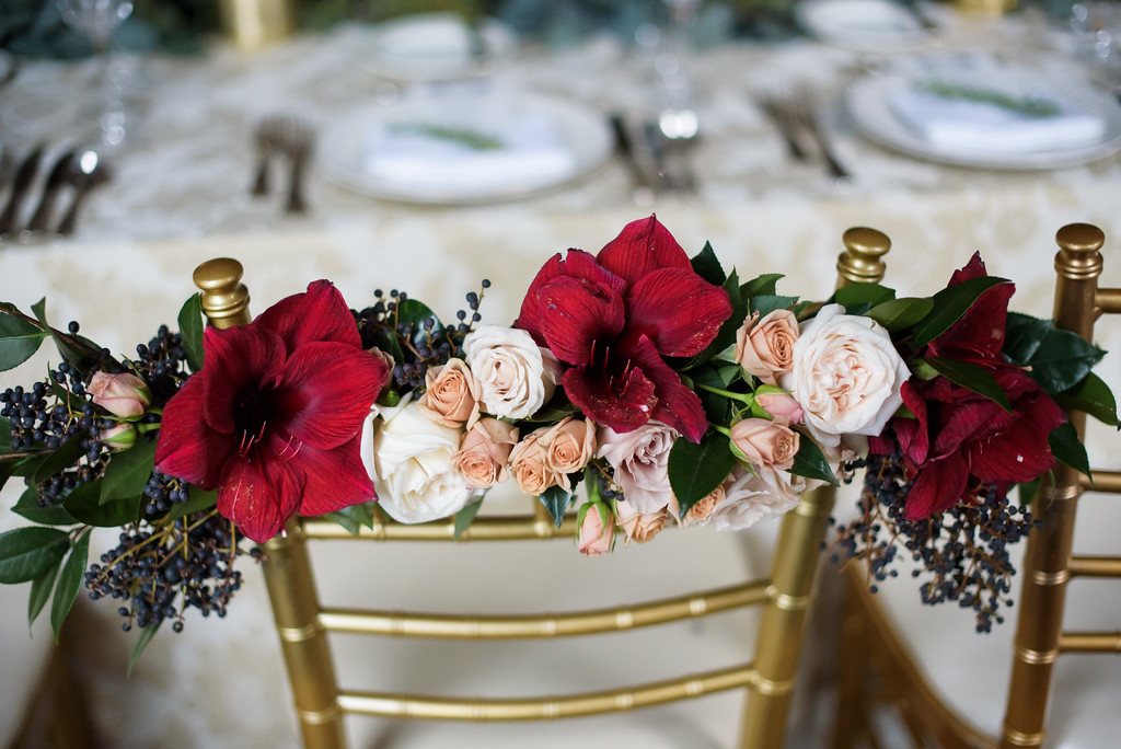 Fleur-Inc-In-Style-Weddings-Press-December-Wedding-SQN-Events-Avery-House-The-Drake-Hotel-Chair-Flowers