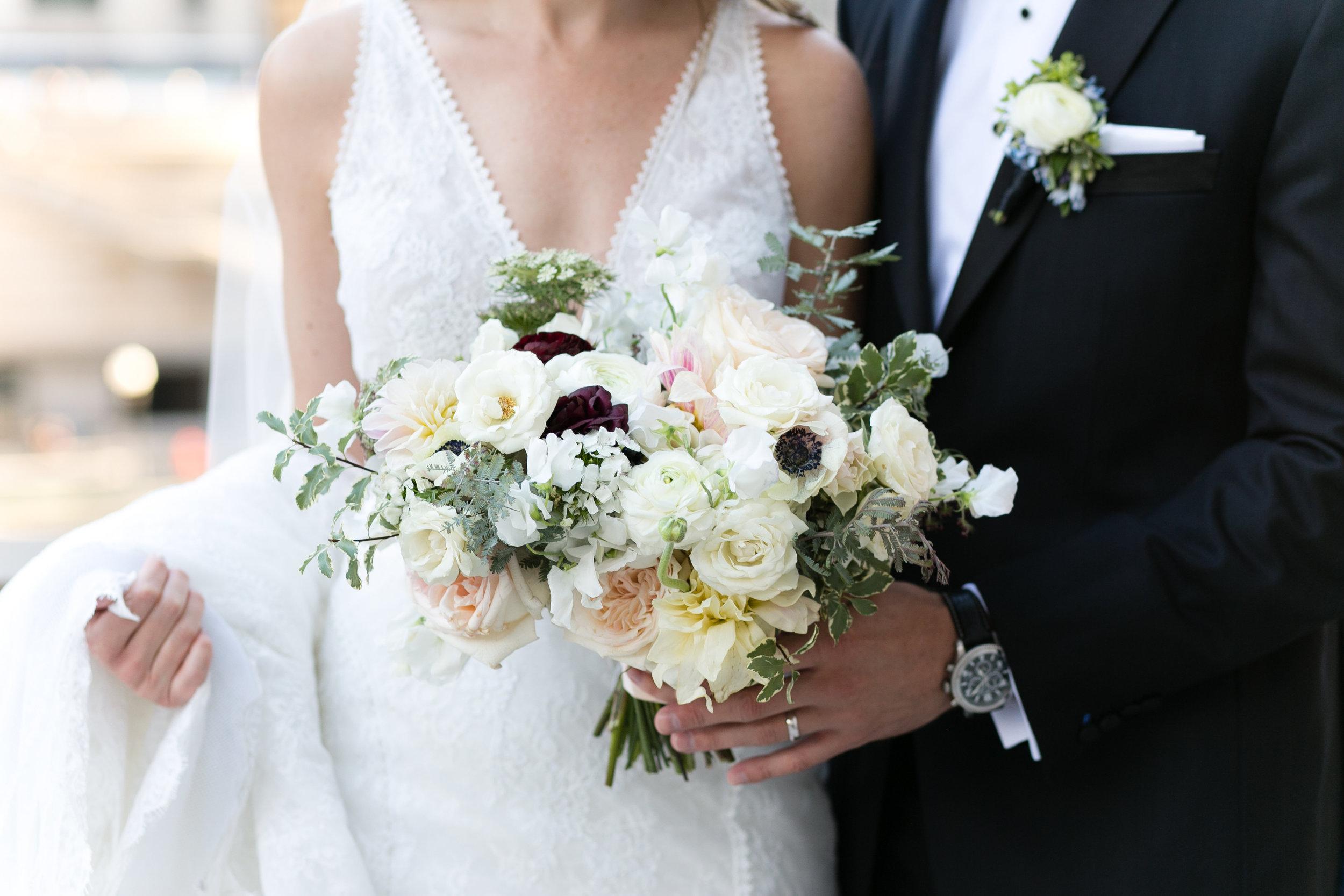 Fleur-Inc-Emilia-Jane-Photography-Estera-Events-Langham-Hotel-Chicago-Wedding-Anemones-Ohara-Garden-Rose-Ranunculus-boutonniere