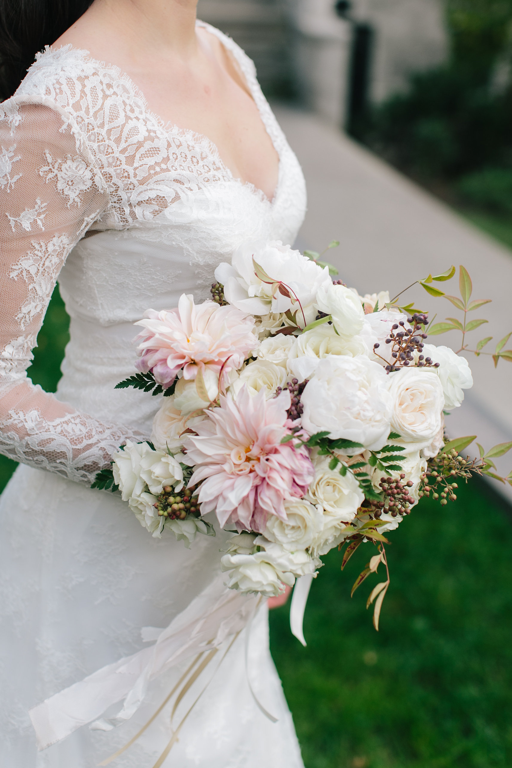 Romantic wedding bouquet with cafe au lait dahlias and peonies, designed by Fleur Inc.  Wedding at the Langham Hotel in Chicago, photographed by Clary Pfeiffer Photography.