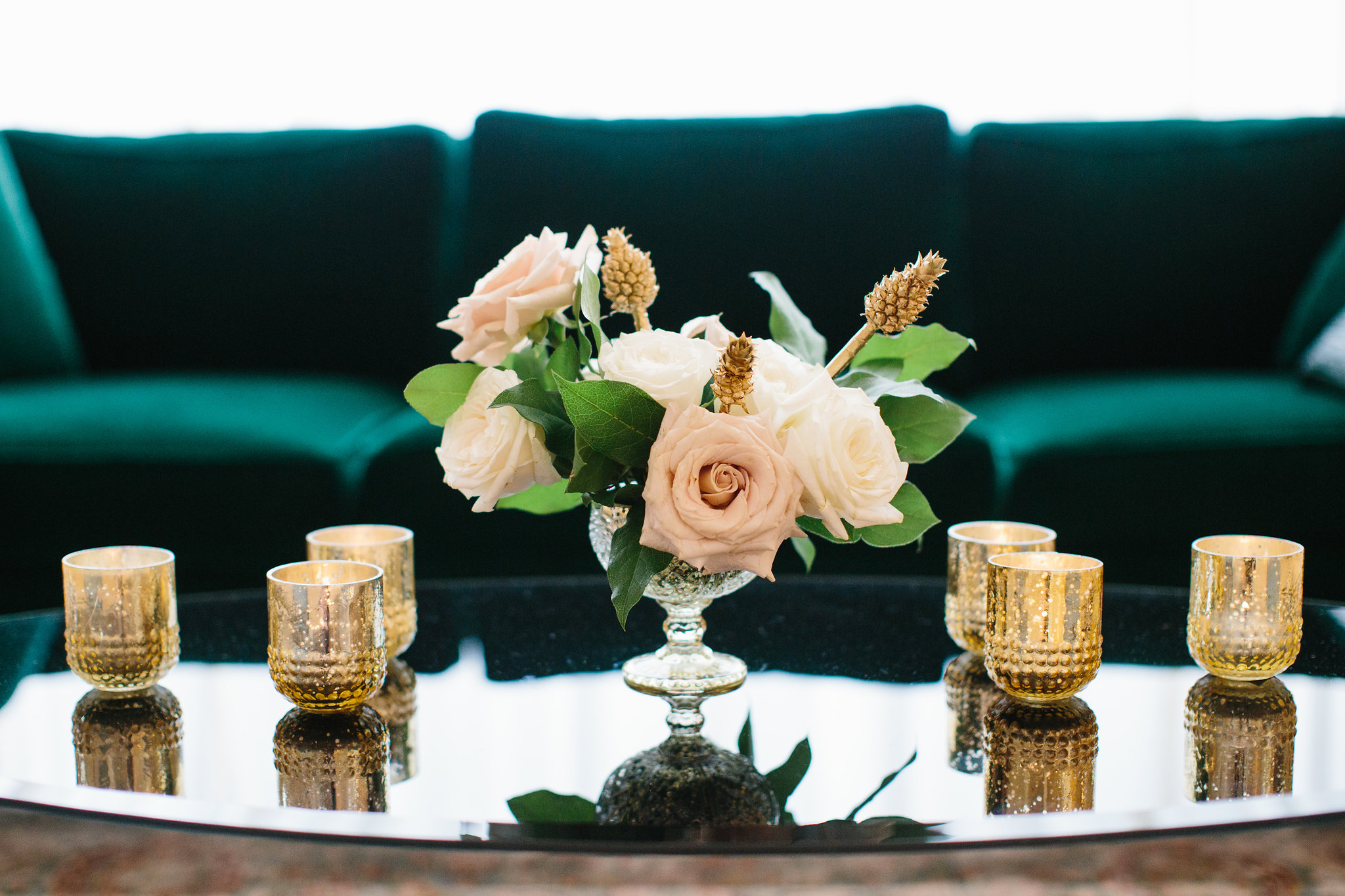 Wedding flowers by Fleur Inc at Chicago Illuminating Company.  Planning by LK Events, Images by Katie Kett Photography. Golden Pineapples
