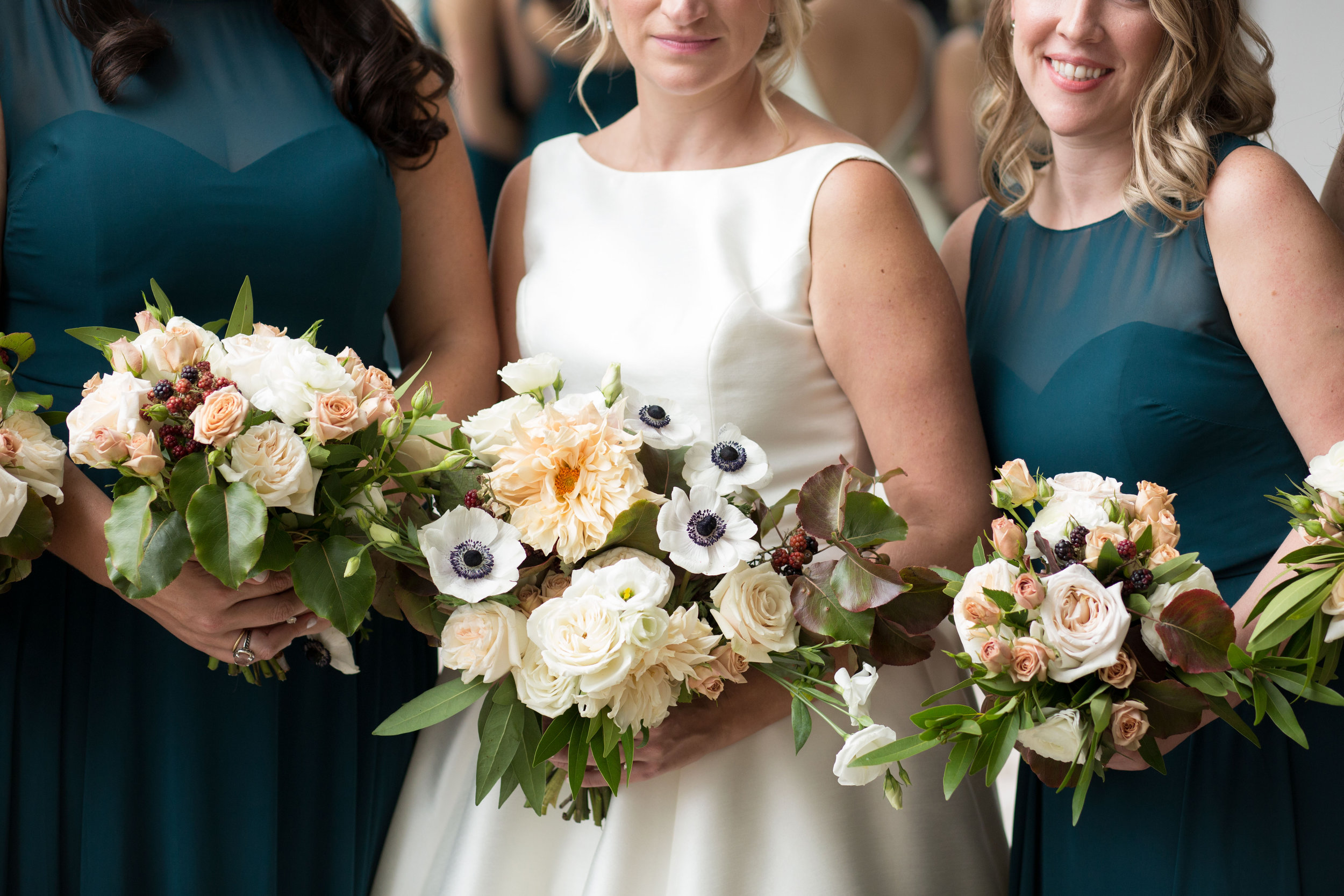 Floral by Fleur Inc, Photo by Natalie Probst, Bridal and Bridesmaid Bouquets at Saddle and Cycle Club, Autumn Chicago Wedding.