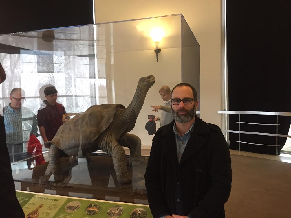 Myself with Lonesome George at the American Museum of Natural History. Photo by Max Barresi.