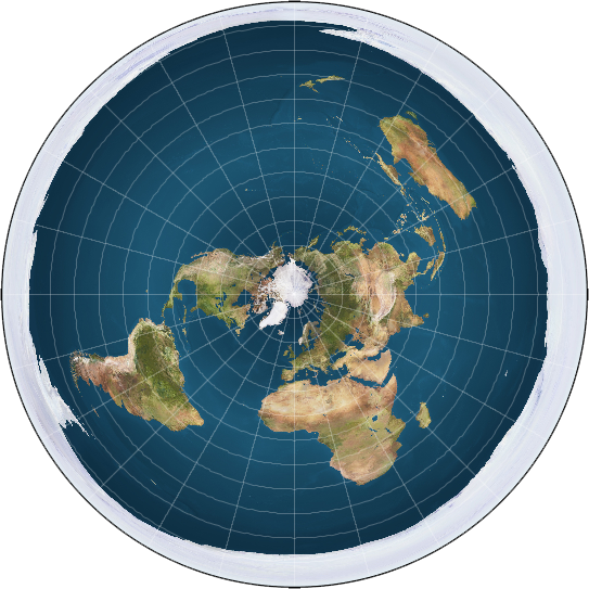 Many flat Earthers think the real world map looks something like this, with continents surrounding a central arctic. Antarctica is the ice wall that prevents us from falling off the edge of the Earth.