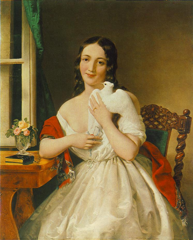 A woman embraces the carrier pigeon which brought her a letter.Painting by Miklós Barabás (1843)