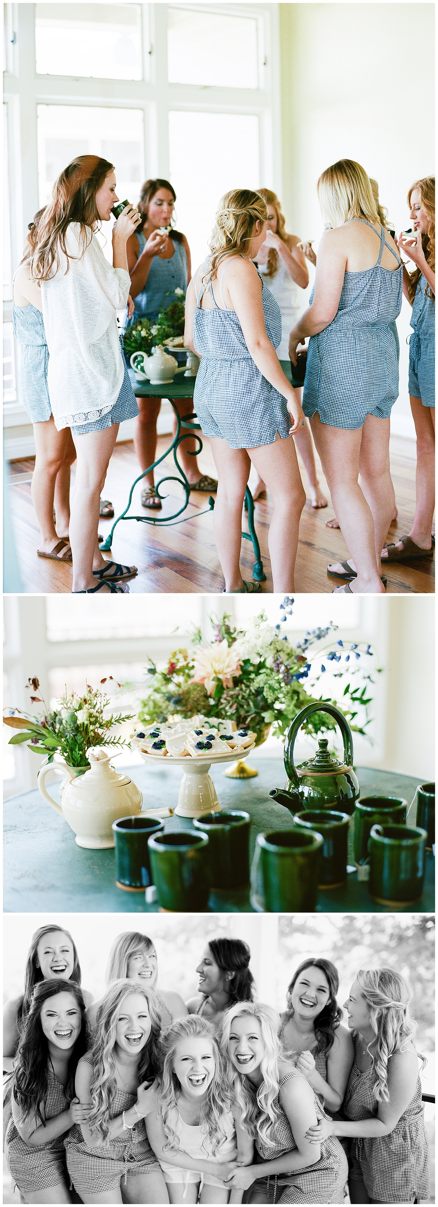 One of my all time favorites, Hayley had her bridesmaids enjoy a cup of tea and cookies (adorable cookies, might I add) as they got ready in their blue rompers! I mean, how cute are they? Fun fact, Hayley actually made all of those mugs and teapots that you see! She gave each bridesmaid a cup as a gift. I love seeing little personal touches like that in wedding days.