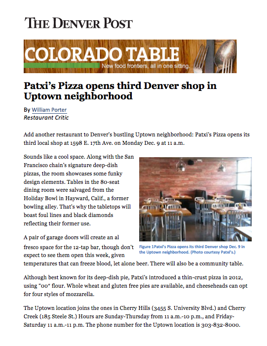 Denver Post Colorado Table