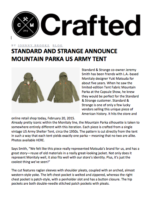 Crafted Magazine Blog Tent Parka