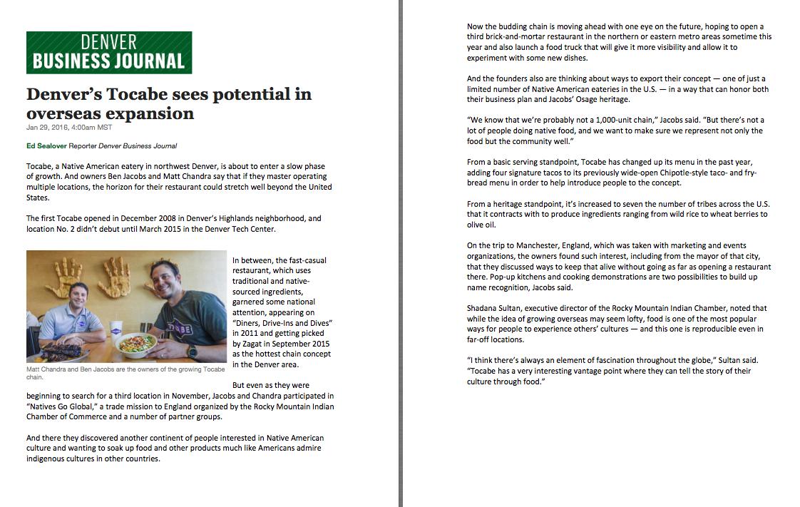 Denver Business Journal Feature Interview