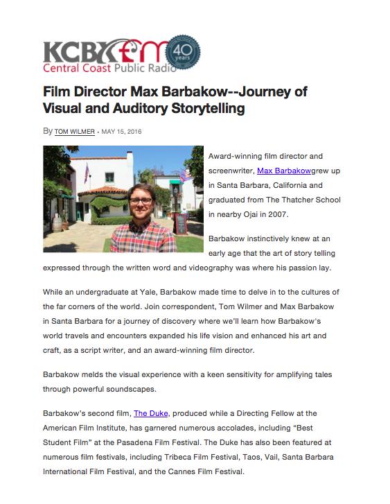 KCBX Interview Web Article